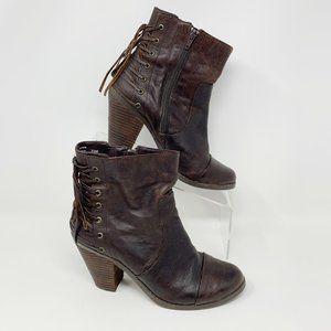 Adam Tucker 'Me Too' Brown Leather Bootie Size 7.5